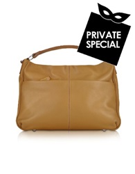 Buti Pebbled Calf Leather Hobo Bag Camel