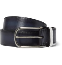 Berluti 3.5Cm Blue Polished Leather Belt Blue