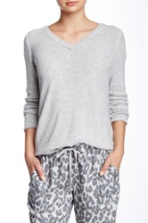 Democracy Lace Back Thermal Sweater Gray
