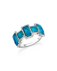 Meira T 14K White Gold Chrysocolla Doublet And Diamond Ring Blue White