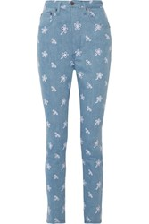 Marc Jacobs Broderie Anglaise High Rise Skinny Jeans Blue
