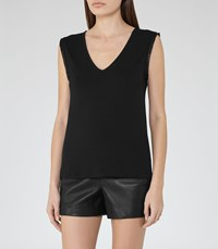 Reiss Sophia Womens Sleeve Trim Tank Top In Black