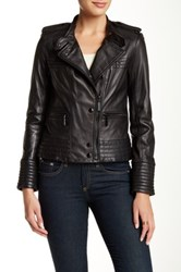 Vince Camuto Lambskin Leather Moto Jacket Black