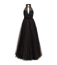 Jenny Packham Tulle Halter Gown Female Black