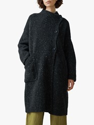 Toast Knitted Tweed Coat Charcoal