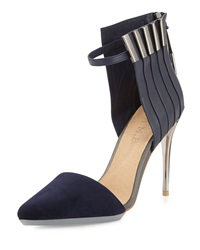 L.A.M.B. Tomas Mixed Leather And Suede Pump Navy