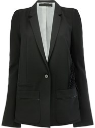 Haider Ackermann One Button Blazer Women Silk Cotton Rayon Virgin Wool 36 Black