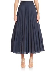 Pauw Mini Plisse Midi Skirt Navy