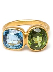 Marie Helene De Taillac Aquamarine And Peridot Princess Duet Ring Blue