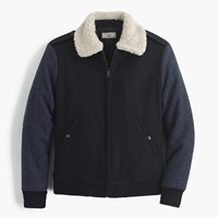 J.Crew Wallace And Barnes Sherpa Collar Contrast Wool Bomber Jacket Marled Navy Combo