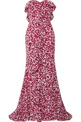 Oscar De La Renta Strapless Ruffled Printed Silk Crepe Chine Gown Red