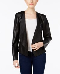 Inc International Concepts Petite Lace Back Faux Leather Jacket Only At Macy's Deep Black