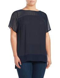 Jones New York Plus Roundneck Short Sleeve Hi Lo Blouse Navy
