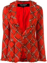Junya Watanabe Comme Des Garcons Vintage Boucle Knit Tartan Fitted Jacket Red