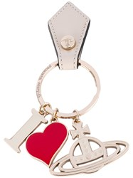 Vivienne Westwood 'I Heart' Logo Keyring Unisex Leather Metal One Size Metallic
