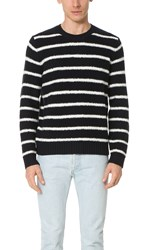 Vince Textured Striped Long Sleeve Crew Sweater Coastal Pearl