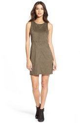 Junior Women's Painted Threads Faux Suede Shift Dress Olive