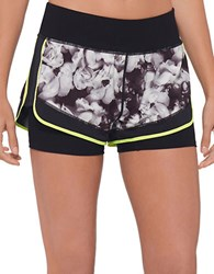 Mpg Soleen Printed Layered Effect Sport Shorts Black Multi