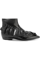 J.W.Anderson Ruffled Leather Ankle Boots Black