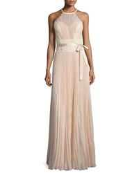Mignon Sleeveless Lace Inset Plisse Gown Alabaster