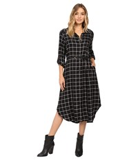 Christin Michaels Plaid Shirtdress Hard Belt Black White Women's Dress