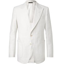 Tom Ford White Shelton Slim Fit Cotton And Linen Blend Suit Jacket White