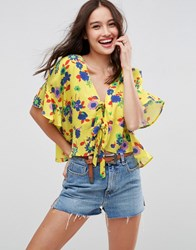 Asos Tie Front Blouse With Frill Sleeve In Bright Ditsy Yellow