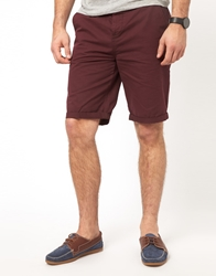 Asos Chino Shorts In Longer Length Burgundy