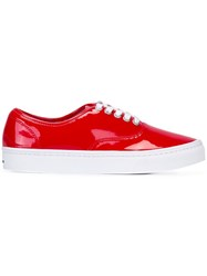 Comme Des Garcons Junya Watanabe Lace Up Sneakers Red