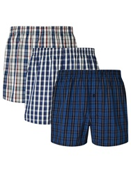 John Lewis Ferenc Check Woven Cotton Boxers Pack Of 3 Blue