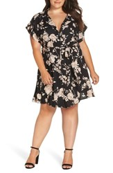 Angie Plus Size Crochet Back Shirtdress Black