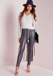 Missguided Faux Leather Ankle Zip Trousers Grey Grey