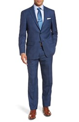 Hart Schaffner Marx Big And Tall New York Classic Fit Plaid Wool Suit Med Blue
