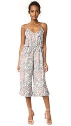 Cupcakes And Cashmere Gale Paisley Floral Cropped Jumpsuit Pale Green