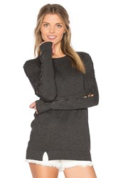 Central Park West Cambridge Lace Up Bell Sleeve Sweater Gray