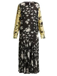 Preen Line Marin Floral Print Drop Waist Midi Dress Black Multi