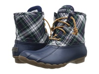Sperry Saltwater Novelty Navy Green Plaid Women's Rain Boots Blue
