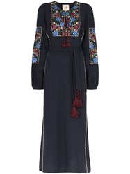 Figue Joni Floral Embroidered Maxi Dress Blue