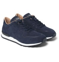 Tod's Panelled Suede Sneakers Navy