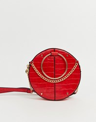 River Island Circle Across Body Bag In Red