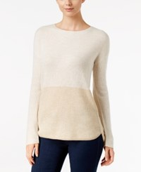 Inc International Concepts Colorblocked Tunic Sweater Only At Macy's Buttercream