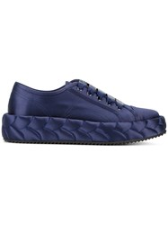 Marco De Vincenzo Quilted Platform Sneakers Women Silk Leather Rubber 36 Blue