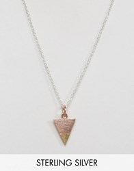 Asos Sterling Silver Triangle Necklace Multi