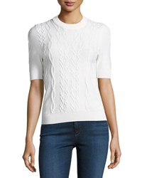 Carven Twist Knit Short Sleeve Pullover Top White