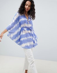 Qed London Tie Dye Top With Zip And Tie Waist Blue Combo