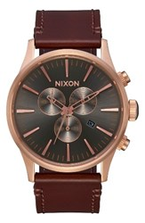 Nixon Men's The Sentry Chronograph Leather Strap Watch 42Mm Brown Gunmetal Rose Gold