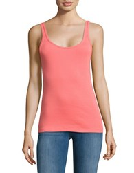 Lord And Taylor Ribbed Cotton Tank Top Vivid Cherry