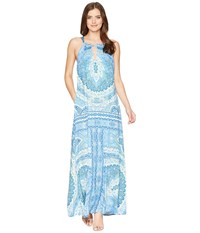 Hale Bob Modern Mosaic Stretch Satin Maxi Dress Blue