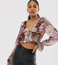 Missguided Tall Blouse In Floral And Leopard Mix Print Pink