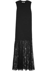 Mcq By Alexander Mcqueen Cotton Jersey And Lace Maxi Dress Black